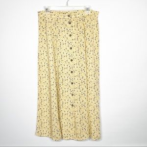 Vintage Button Down Floral Midi Skirt Yellow Large